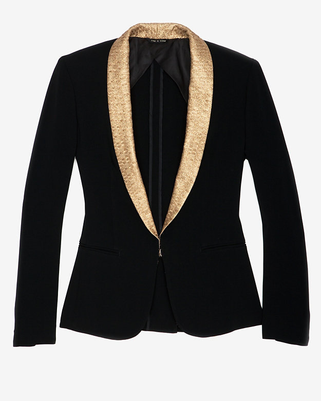 Rag and Bone Rag & Bone Rag & Bone Sliver Tuxedo Jacket With Gold Shawl Collar