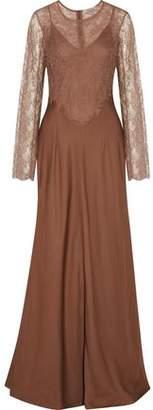 Nina Ricci Lace-Paneled Satin Gown