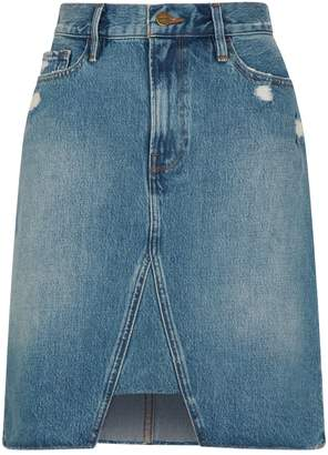 Frame Midi Pencil Triangle Denim Skirt