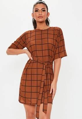 Missguided Rust Grid Plaid Tie Waist Shirt Dress