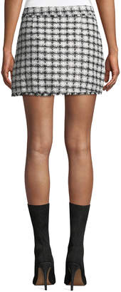 Haute Rogue Gingham Tweed Button-Front Mini Skirt