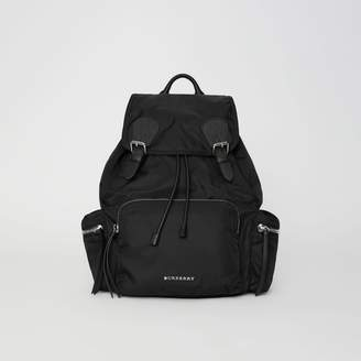 Burberry The Large Rucksack in Technical Nylon and Leather, Black