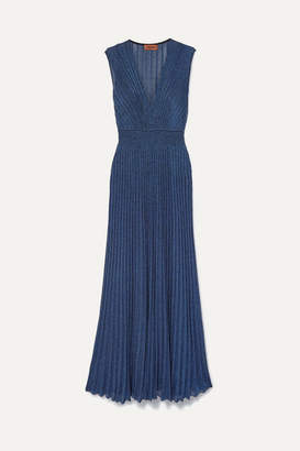 Missoni Pleated Lurex Maxi Dress - Blue