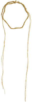 Acne Studios Gold Braid Choker Necklace