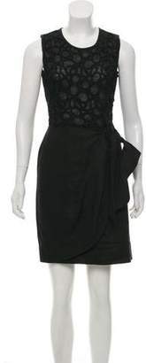 Lela Rose Lace-Trimmed Linen Dress