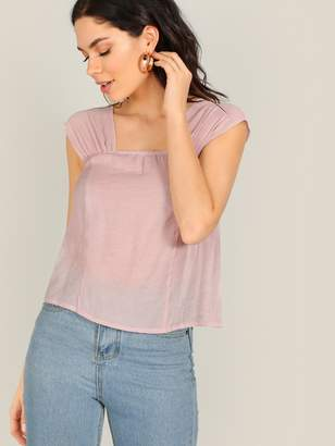 Shein Square Neck Gathered Wide Strap Top