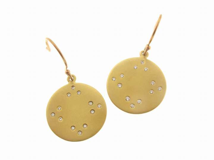 Me & Ro Small Tibetan Mirror Disc Earrings in 18 Karat Gold