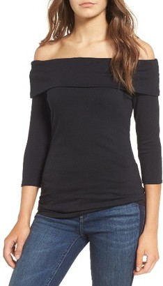 Women's Hinge Off The Shoulder Stretch Jersey Top $49 thestylecure.com
