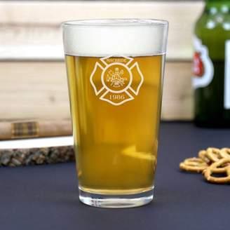 Monogram Online Custom Name Fireman Beer Pint Glass, 16 oz