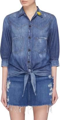 Sandrine Rose 'The Moss' slogan embroidered tie front denim blouse