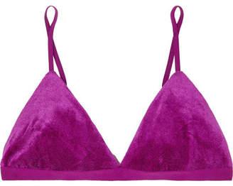 Base Range Baserange - Mississippi Modal-blend Velour Soft-cup Triangle Bra - Purple