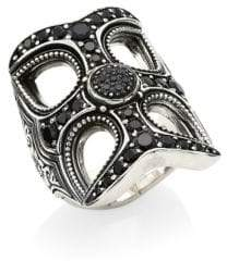 Konstantino Circe Sterling Silver& Black Spinel Statement Ring - Silver - Size Size 7