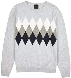 Mens Grey Argyll Crew Neck Jumper