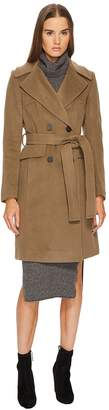 Diane von Furstenberg Double Breasted Tie Waist Wool Coat Women's Coat