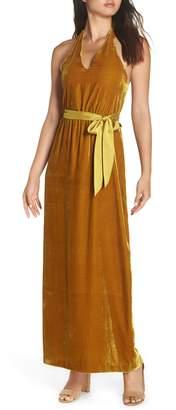 AVEC LES FILLES Velvet Halter Maxi Dress