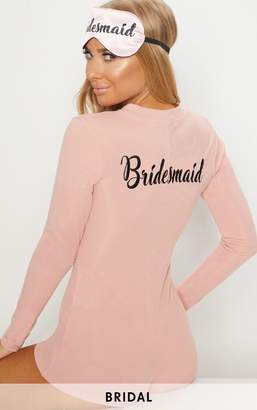 PrettyLittleThing Pale Pink Bridesmaid Embroidered Back PJ Romper