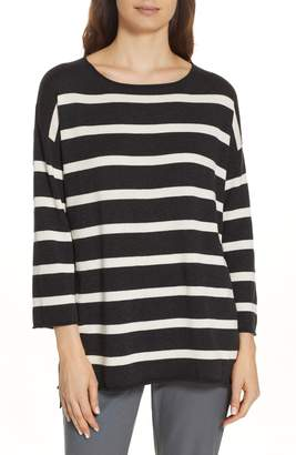 Eileen Fisher Stripe Organic Cotton Sweater