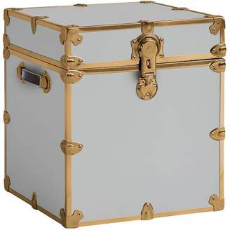 Pottery Barn Teen Vinyl Dorm Trunk, Gray with Rubbed Brass, Cube