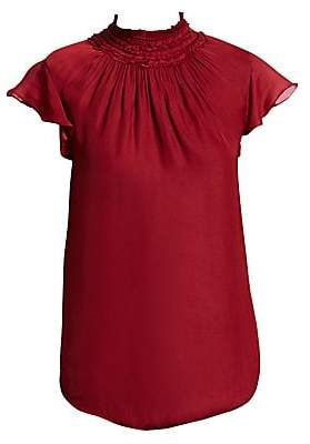 Halston Women's Flutter Sleeve Smocked High Neck Top