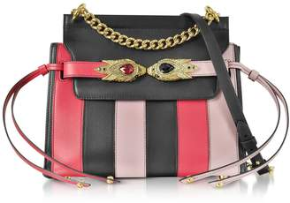 Roberto Cavalli Tulip Black And Nude Stripe Leather Shoulder Bag W/goldtone And Crystals Snake Heads
