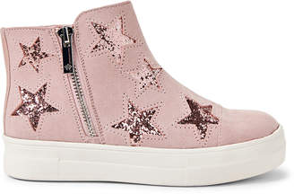 Nina Kids Girls) Blush Glitter Star High-Top Sneakers