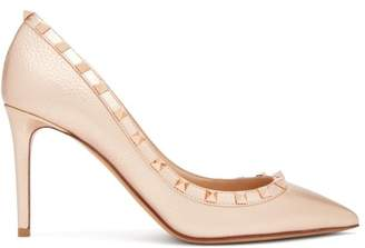 Valentino Rockstud Grained Leather Pumps - Womens - Rose Gold