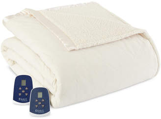 Shavel Reversible Micro Flannel to Sherpa King Heated Blanket Bedding