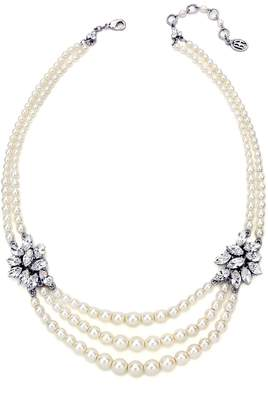 Ben-Amun Faux Pearl & Crystal Multistrand Necklace