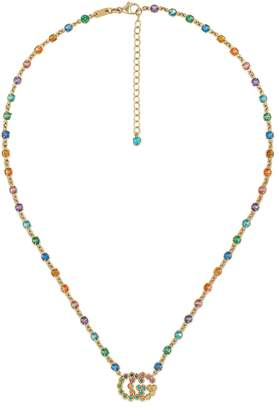 Gucci GG Running necklace with multicolor stones