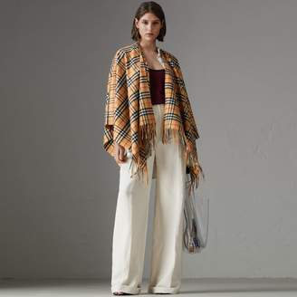 Burberry Vintage Check Cashmere Wool Poncho