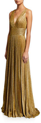 Jovani Metallic Accordion-Pleated V-Neck Sleeveless Gown