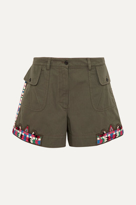 Valentino Embellished Cotton-twill Shorts - Army green