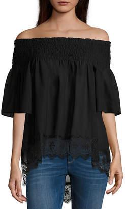 Libby Edelman Off The Shoulder Lace Hem Blouse
