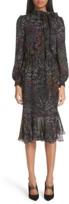 Co Floral Print Ruffle Trim Silk Dress