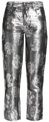 Maison Margiela Metallic Floral-Jacquard Skinny Pants