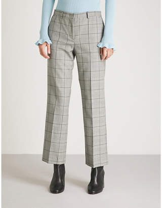 RED Valentino Checked flared cropped wool trousers