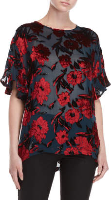 P.A.R.O.S.H. Velvet Floral Short Sleeve Top