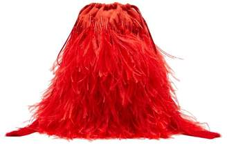ATTICO The Beaded Ostrich Feather Satin Clutch Bag - Womens - Red