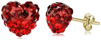 Swarovski Best Silver Inc. 14K Yellow Gold Pave Red Crystal Accented Stud Earrings