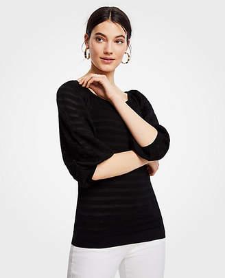 Ann Taylor Petite Striped Balloon Sleeve Sweater