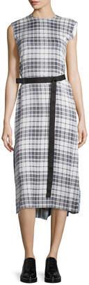 Calvin Klein Belted Plaid Silk Midi Dress, Black/White