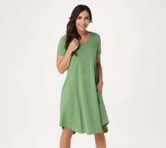Logo By Lori Goldstein LOGO by Lori Goldstein Cotton Slub Dress with Tie Back Neck