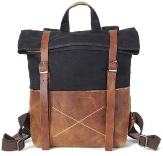 EAZO - Waxed Canvas Backpack With Vintage Leather Detail In Black