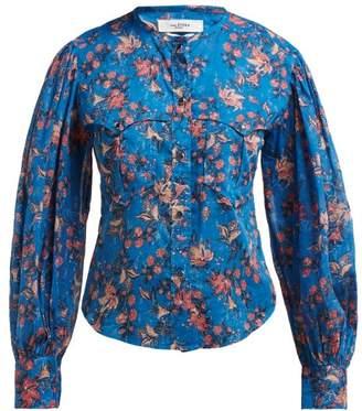f425e6909bf Etoile Isabel Marant Emi Floral Print Cotton Shirt - Womens - Blue