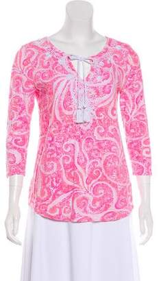 Lilly Pulitzer Printed Three-Quarter Sleeve Top