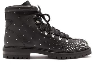 Valentino Rockstud Embellished Lace Up Leather Boots - Womens - Black