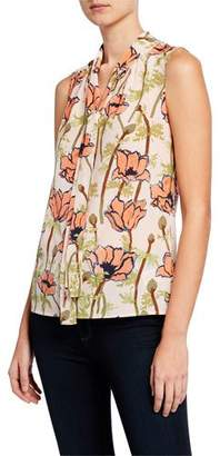 Tory Burch Floral-Printed Sleeveless Tie-Neck Bow Blouse