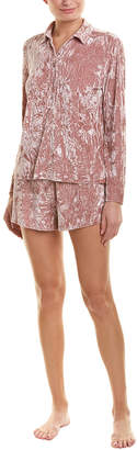 Josie Natori 3Pc Velvet Crush Pajama Set