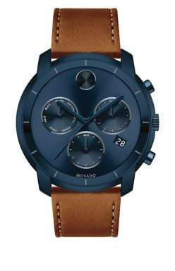 Large Movado Bold Chronograph Stainless Steel Leather-Strap Watch
