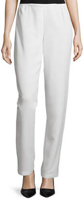 Caroline Rose Shantung Straight-Leg Pants